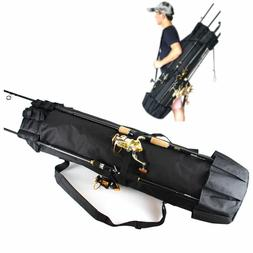 Fishing Rod Reel Organizer Carrier Bag Travel 5 Pole Tackle