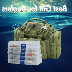 Fishing Tackle Bag Full with 5 Trays 60 Spinners Spoon Crank