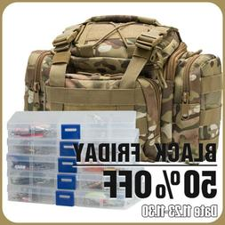 Fishing Tackle Bag Loaded 60 Spoon Lure Crankbait 5 Box Stor