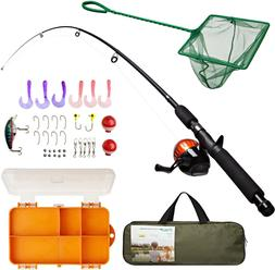 Lanaak Kids Fishing Pole And Tackle Box - With Net, Travel B