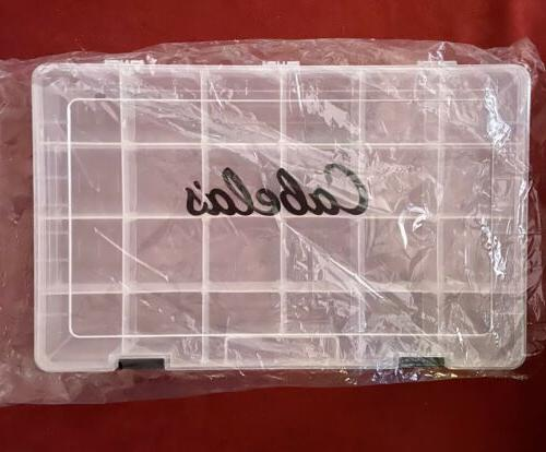 clear plastic 24 compartment tackle box new