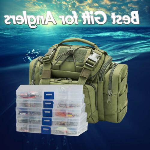 fishing tackle bag full with 5 trays