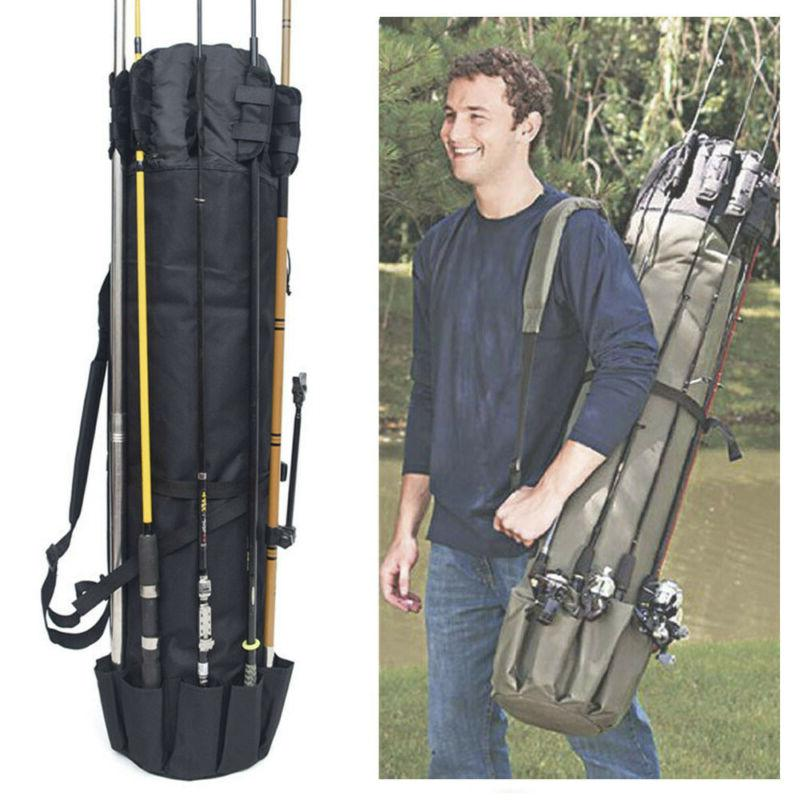 Portable Fishing Rod Canvas Tools Gear Bag Case NEW