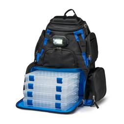 LED Lighted Tackle Box Fishing Camping Backpack 4-Trays Bag