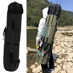 Portable Fishing Rod Carrier Canvas Pole Tools Storage Gear