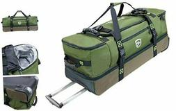 Rolling Fishing Tackle Duffle Bag - Elkton Outdoors with Wet